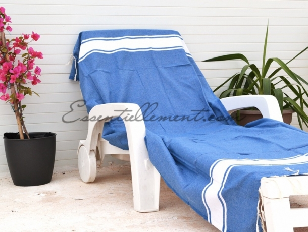 serviette fouta plate bleu grec pas cher. Black Bedroom Furniture Sets. Home Design Ideas