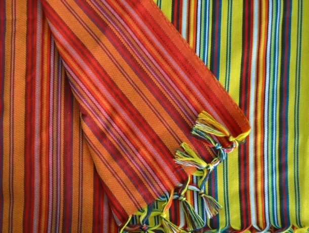 Fouta plate Jamaïques Mille Rayures verticales