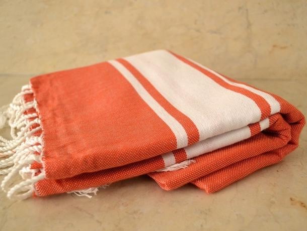 Fouta plate Orange Tomettes
