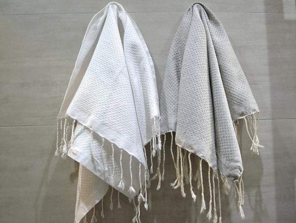 Lot 2 Petites serviette Fouta Blanc/Gris Chiné - Nid d'Abeille