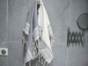 Lot 2 Petites serviette Fouta rayées Blanc/Gris Béton - Nid d'Abeille