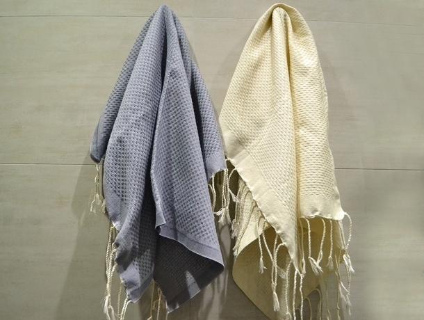 Lot 2 Petites serviette Fouta Vanille/Gris Zingué - Nid d'Abeille