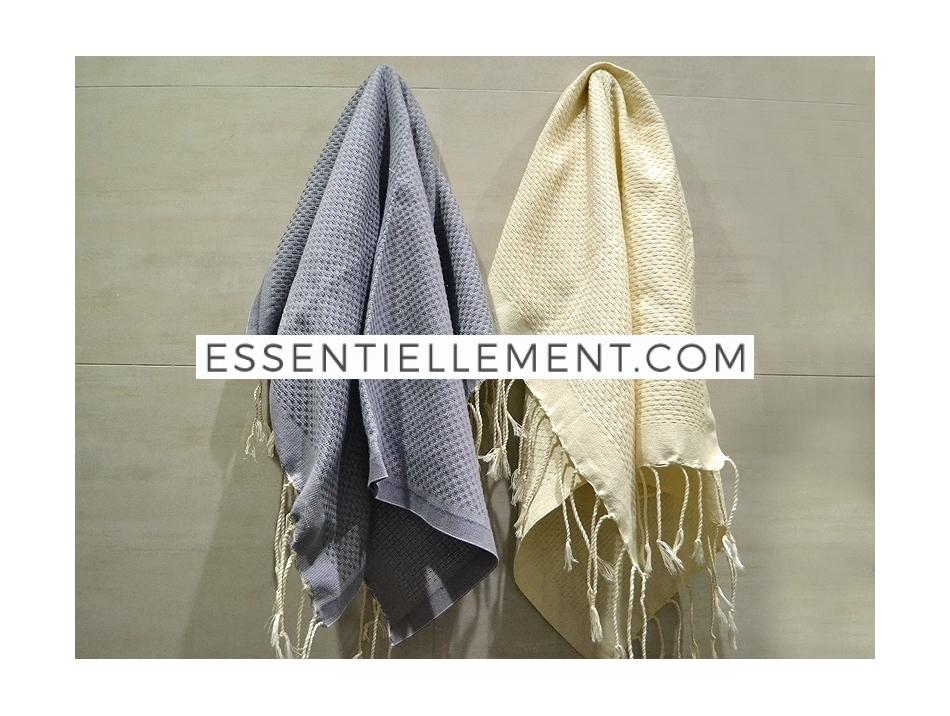 Lot 2 Petites serviette Fouta Vanille/Gris Zingué - Nid d\'Abeille