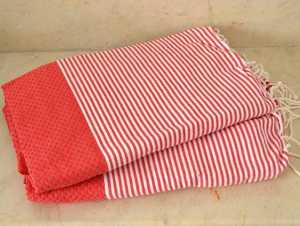 Lot 2x Fouta nid d'abeille Rouge Tomate rayé blanc
