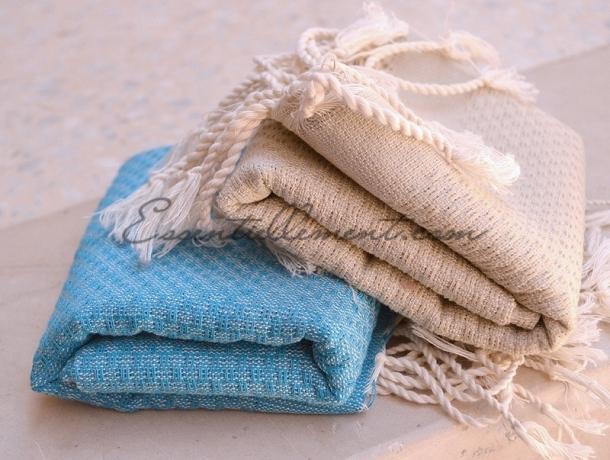 Lot 2 Petites serviette Fouta Bleu Océan/Miel - Nid d'Abeille