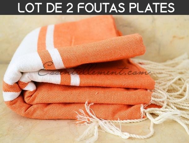 Lot 2x Fouta plate Orange Carotte