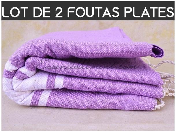 Lot 2x Fouta plate Violet Pastel