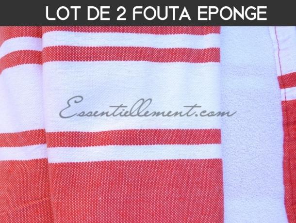 Lot 2x Fouta doublée éponge Rouge Tomate plate