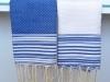 Lot 2 Petites serviette Fouta rayées Blanc/Bleu Grec - Nid d'Abeille