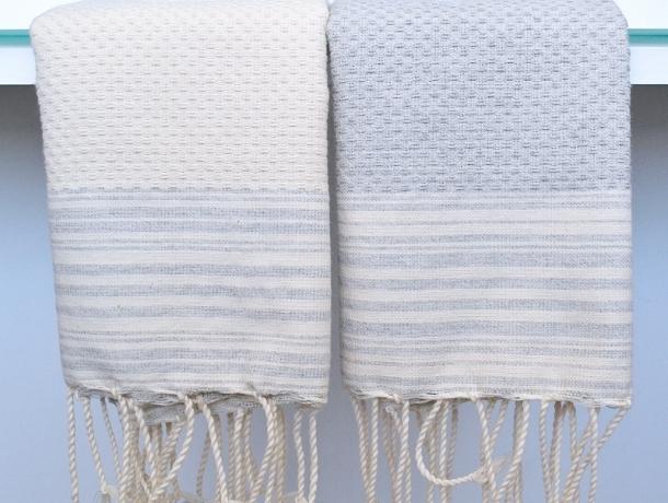 Lot 2 Petites serviette Fouta rayées Gris Lin/Ivoire - Nid d'Abeille