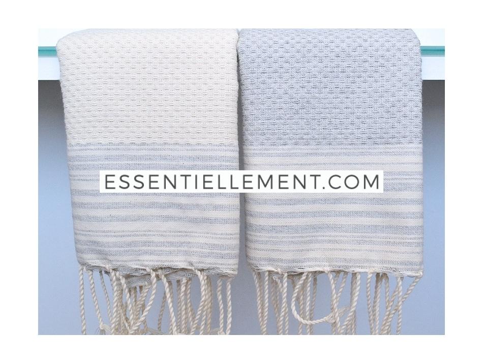 2 petites serviettes fouta ray es gris lin ivoire. Black Bedroom Furniture Sets. Home Design Ideas