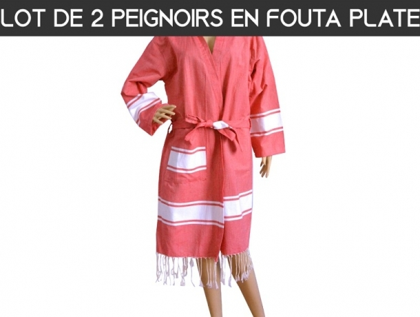 Lot 2x Peignoir Bain Rouge bande Blanche Plat