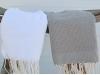 Lot 2 Petites serviette Fouta Blanc/Taupe - Nid d'Abeille