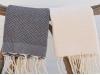 Lot 2 Petites serviette Fouta Vanille/Gris Anthracite - Nid d'Abeille