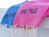 Coffret Serviettes Un Gars Une Fille : 2 Fouta Nid d'Abeilles Fushia / Bleu
