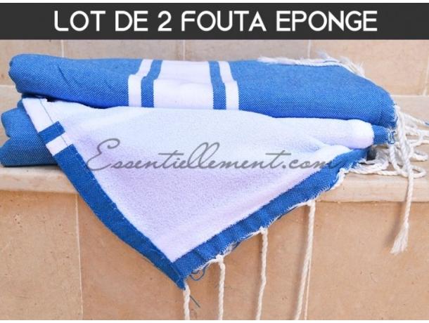 Lot 2x Fouta doublée éponge Bleu Electrique plate - Précommandez pour le 22/01