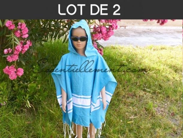 Précommande / dispo dès le 05/02 - Lot 2x Poncho Enfant Bleu Caraïbes en Fouta