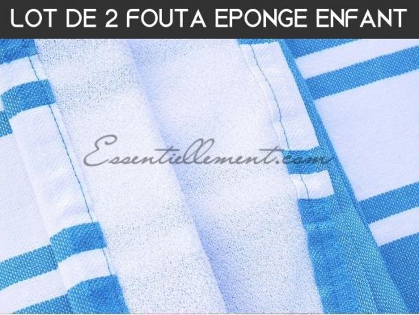 Lot 2x Fouta ENFANT Bleu Caraïbes Doublée éponge