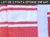 Lot 2x Fouta ENFANT Rouge Doublée éponge