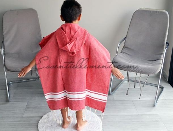 Poncho Rouge plat 4-7 ans à capuche Bain Enfant