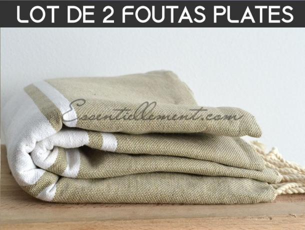 Lot 2x Fouta plate Taupe / Mastic