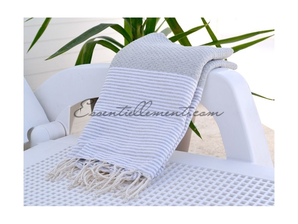 fouta nid d 39 abeille gris lin ray e blanc. Black Bedroom Furniture Sets. Home Design Ideas