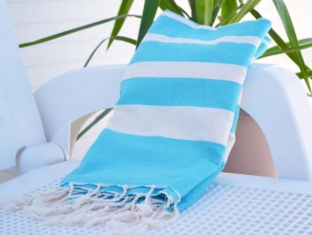 Fouta Plate Stripy Bleu Caraïbes / Écru rayée