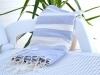 Fouta plate Gris clair bandes ivoire