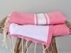 Fouta Rose Chewing-Gum Doublée Eponge - Plate