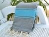 Fouta Plate Bicolore Gris Cendre/ Bleu Caraïbes