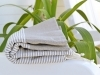 Fouta Plate Taupe Lin rayé Lurex Argent