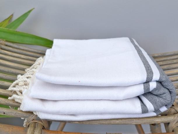 Fouta plate bicolore Blanc / Gris Cendre