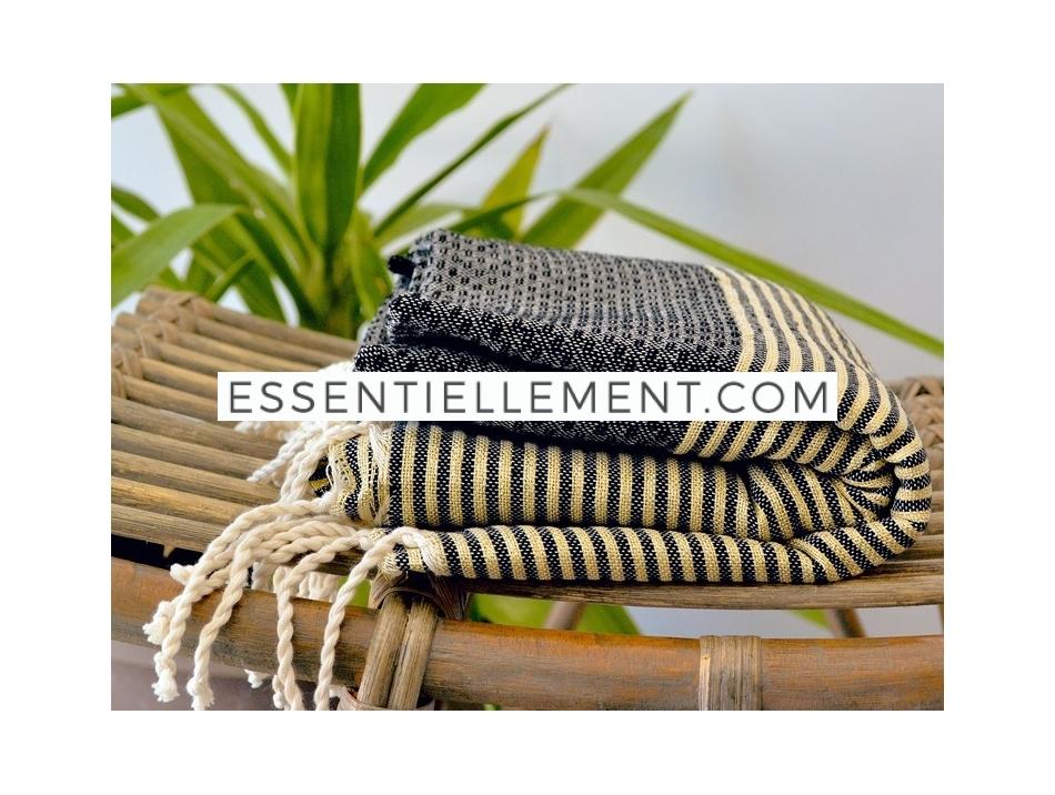 serviette fouta noir ray e lurex dor nid d 39 abeille. Black Bedroom Furniture Sets. Home Design Ideas