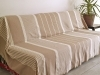 Maxi Fouta XL plate Taupe rayée Ivoire