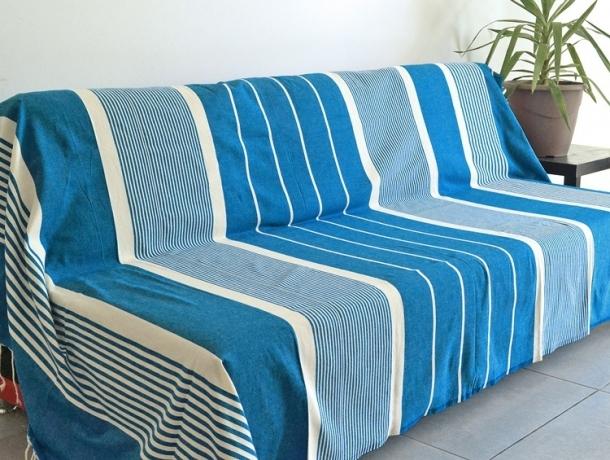 Maxi Fouta XL plate Bleu Électrique rayé Ivoire