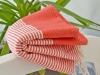 Fouta Rouge Corail rayée Blanc Nid d'abeille
