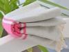 Fouta Plate Bicolore Gris Lin / Rose Fushia