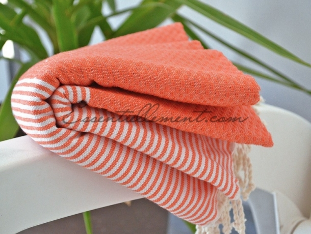 Fouta Orange rayée Blanc Nid d'abeille