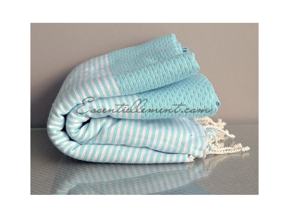 fouta nid d 39 abeille bleu aqua ray e blanc. Black Bedroom Furniture Sets. Home Design Ideas