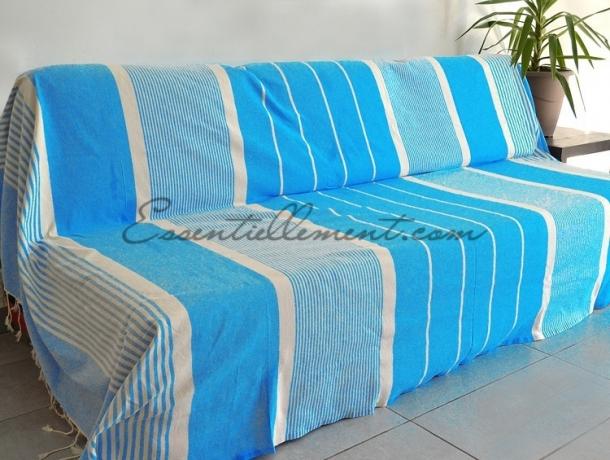 Fouta géante XXL plate Bleu Turquoise rayé Ivoire