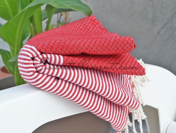 Fouta Rouge Tomate rayée Blanc Nid d'abeille
