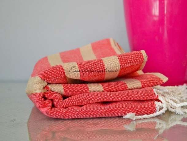 Fouta plate Rouge rayée Beige sable