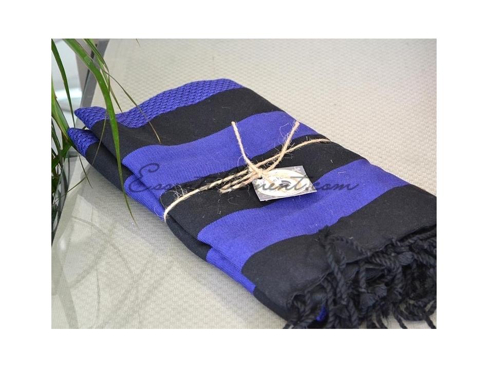 serviette fouta indigo bande noires nid d 39 abeille. Black Bedroom Furniture Sets. Home Design Ideas