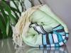 Fouta plate Ethnik - Vert d'eau, Bleu Caraïbes, Blanc, Noir