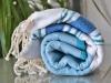 Fouta plate Banyo Bleu Canard, Ciel, Grec - Blanc