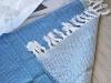 Tapis Bain / Entrée Bleu Grec à franges en Fouta