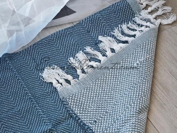 Tapis Bain / Entrée Bleu Anthracite à franges en Fouta