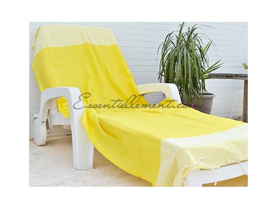 serviette fouta jaune citron ray e blanc nid d 39 abeille. Black Bedroom Furniture Sets. Home Design Ideas