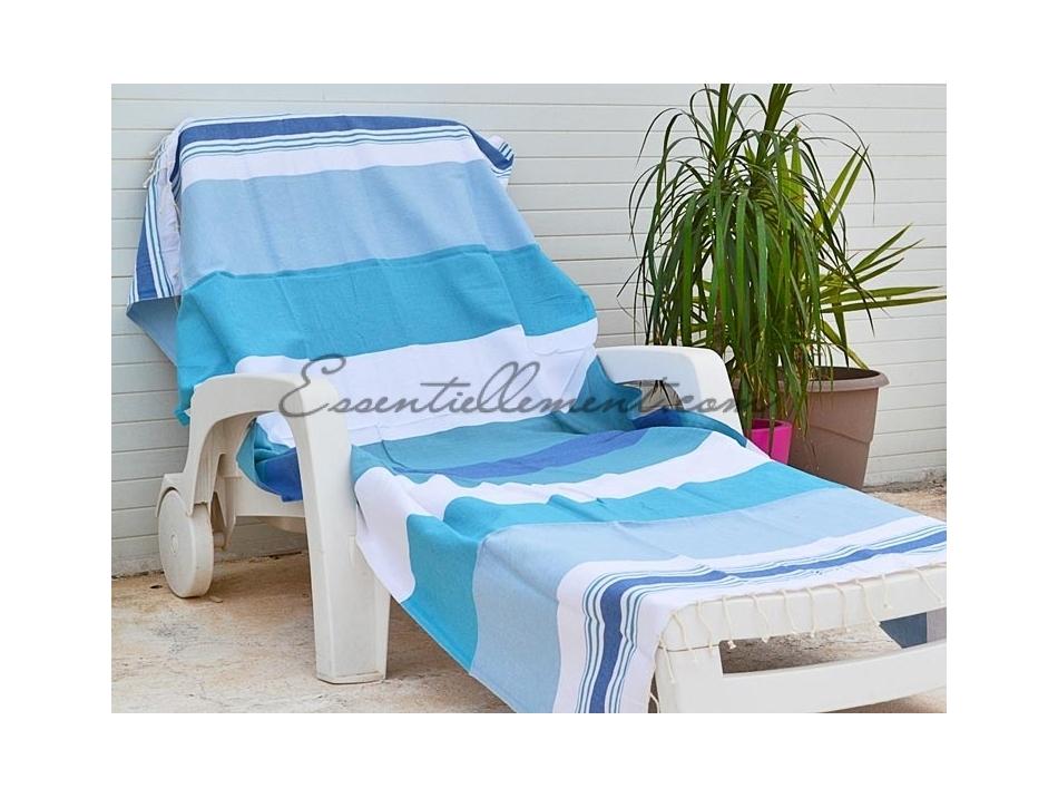 d086c0365a9 Serviette Fouta plate Banyo Bleu Canard