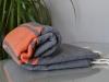 Fouta plate Bicolore Gris Anthracite / Orange